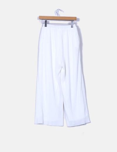 Pantalon culotte blanco texturizado
