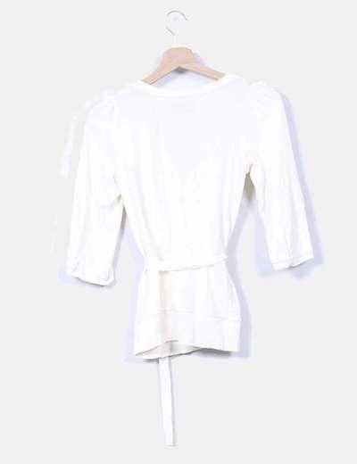 Chaqueta tricot beige con bosillos