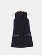 Vestido midi negro sin mangas detalle cremalleras Suiteblanco