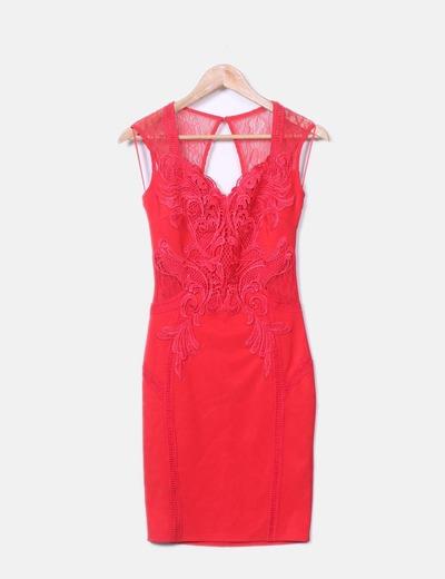 Vestido entallado encaje rojo