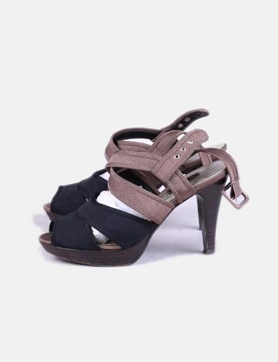 Sandales plate brown et noir -forme Bimba&Lola