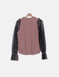 Jersey de punto rosa mangas semitransparentes Sahoco