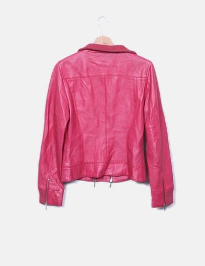venta más barata muchos de moda materiales de alta calidad Cazadora de cuero rosa con elástico