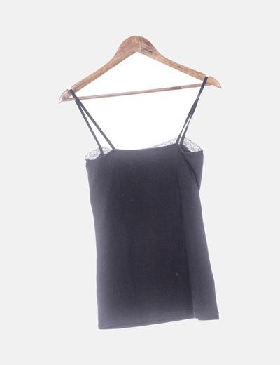 moda de lujo productos de calidad auténtico Camiseta negra lencera