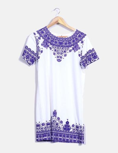 Vestido blanco y azul estampado SheIn