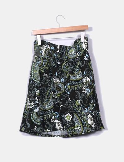 Falda estampada verde
