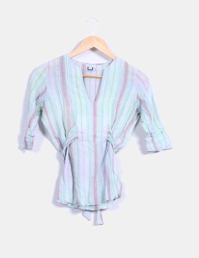 Blusa multicolor texturizada Adolfo Dominguez