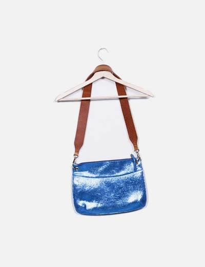 Bolso de hombro azul glitter combinado