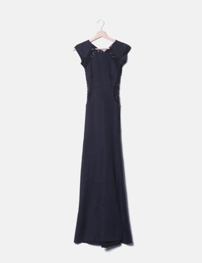 Maxi vestido negro combinado encaje