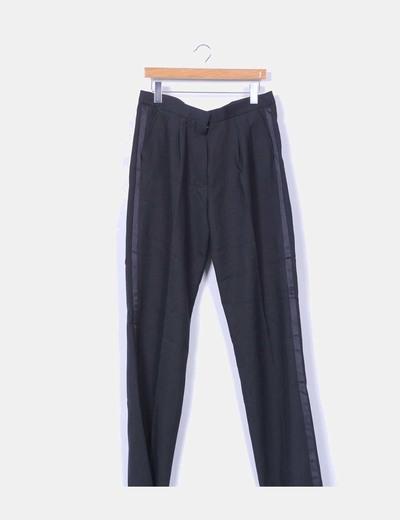 Pantalón sarga de vestir negro con pinzas Edwards
