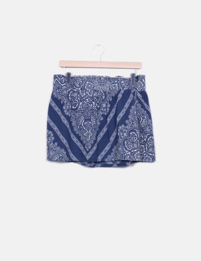 Mini falda estampada azul Bershka