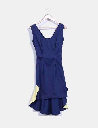 Vestido azul marino con amarillo