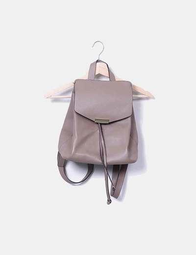 Taupe leatherette backpack Parfois