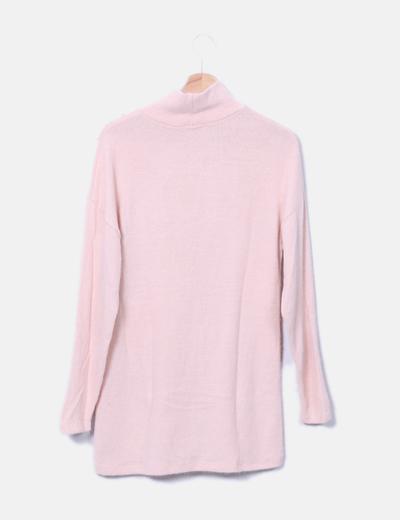 Jersey punto rosa con perlas