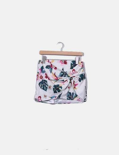 Falda cruza beige estampado floral