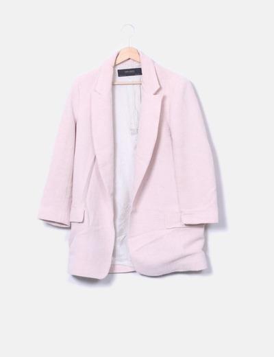 Chaquetón rosa texturizada