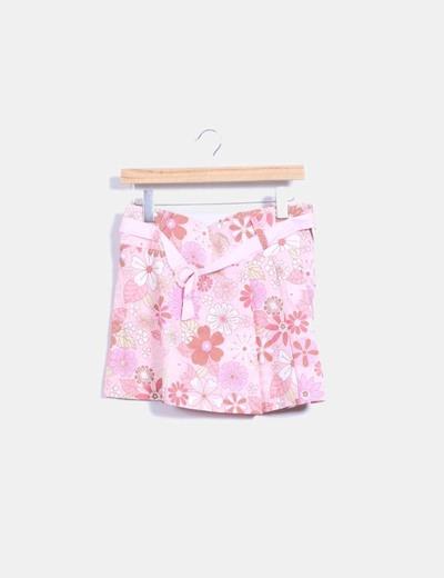 Falda rosa con estampado floral NoName
