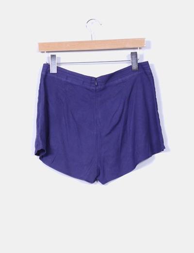 Mini falda pantalon azul marino estampado