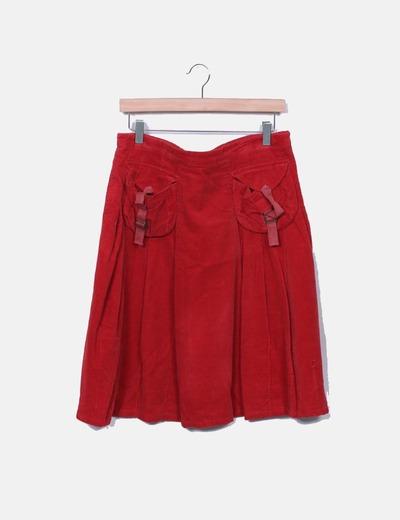 Falda midi mircropana roja