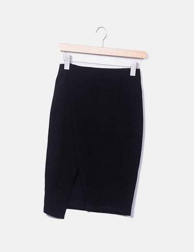 Falda midi texturizada negra
