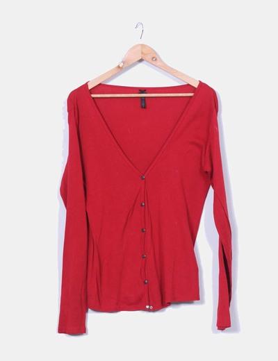Cárdigan tricot rojo Visto Bueno