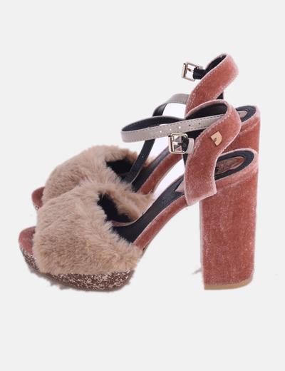Sandalia de tacón velvet plataforma glitter