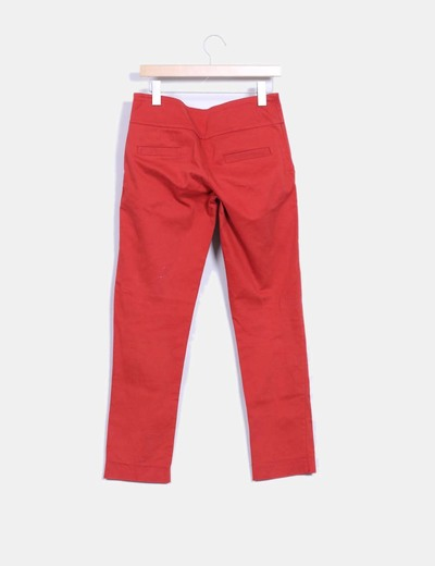Pantalon recto color rojo