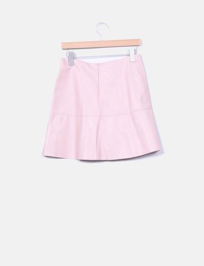 e1db2383d3 Zara Falda rosa palo de polipiel (descuento 58%) - Micolet