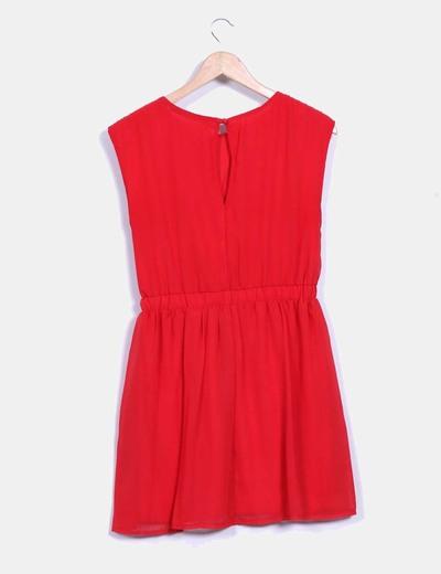 Vestido rojo pecho plisado
