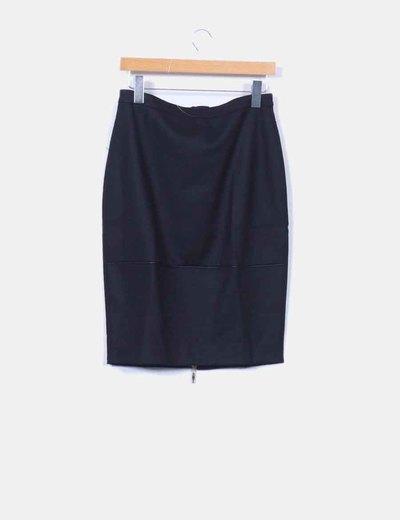 Falda midi negra con cremallera