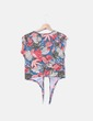 Top estampado tropical con lazo Zara