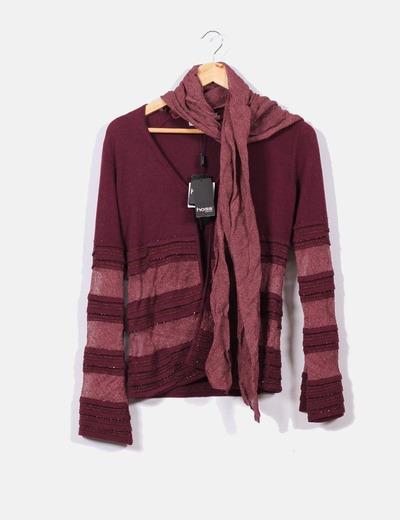 Veste en laine fine avec foulard amovible Hoss Intropia