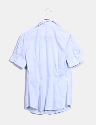 Camisa raya fina azul y blanca