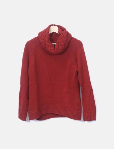 Jersey tricot rojo cuello vuelto