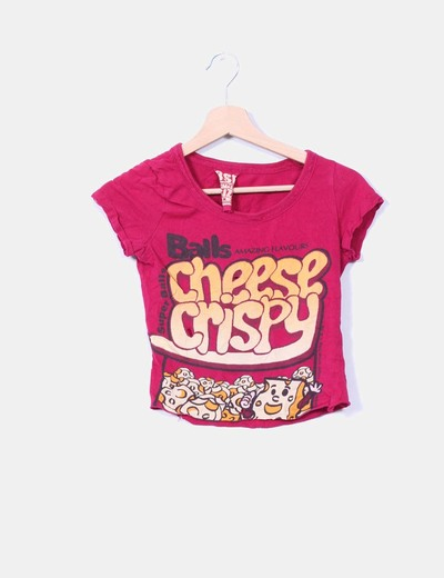 Camiseta granate estampada Bershka