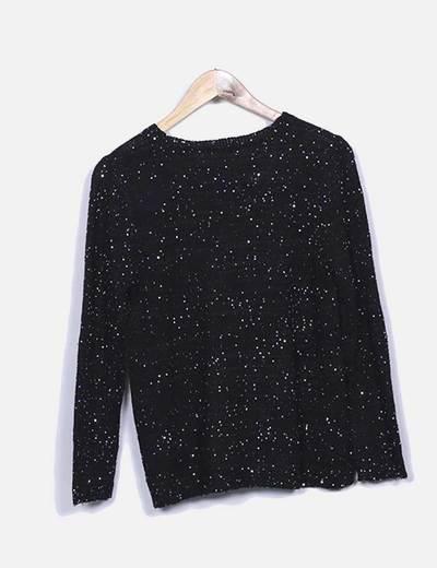 Jersey punto negro glitter