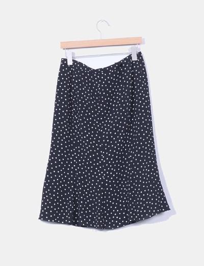 Falda midi negra con lunares blancos