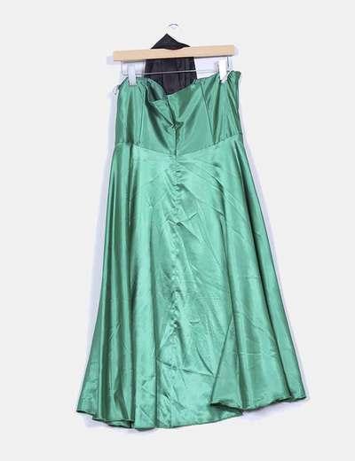 Vestido palabra de honor raso verde con fajin