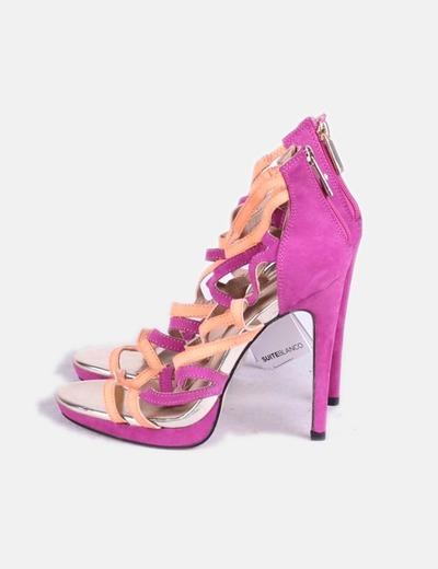 Sandales corail et violette avec brides Suiteblanco