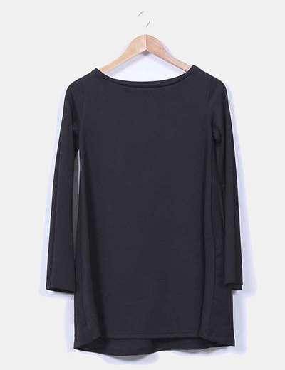 Vestido negro fluido manga larga Zara