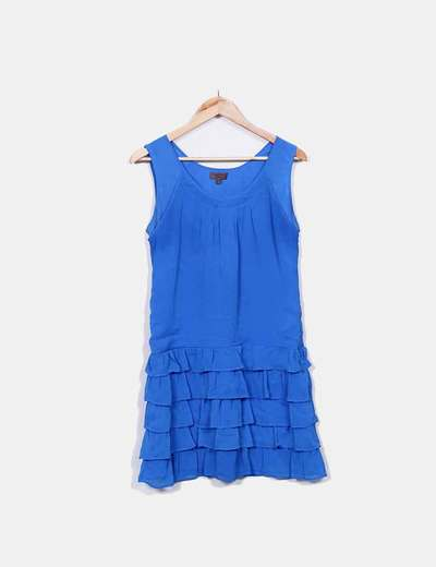 Blue dress with ruffles Cortefiel
