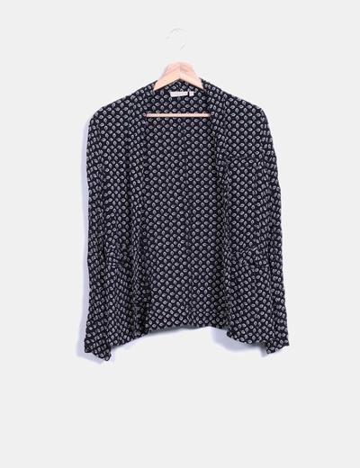 Kimono negro estampado Trucco
