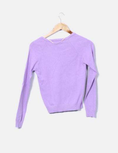 Zara Pull lila col en v (réduction 83%) - Micolet bec9fdd25dd