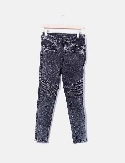 Jeans denim gris desgastado H&M
