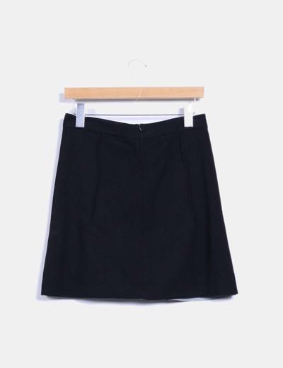 Falda midi negra drapeada