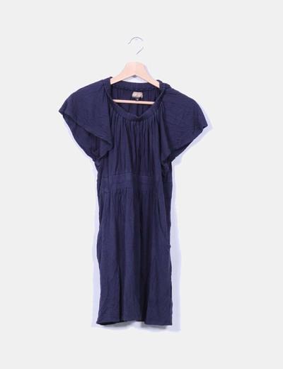 Vestido azul marino con cinturilla For Us
