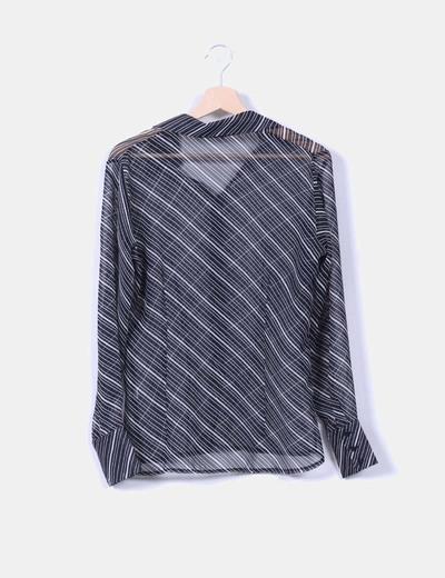 Camisa bicolor de rayas semi transparente