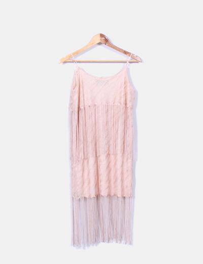 Vestido ganchillo nude glitter con flecos