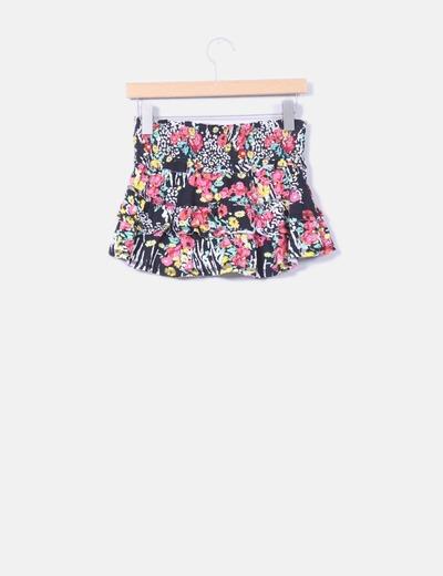 Mini falda estampada con volantes