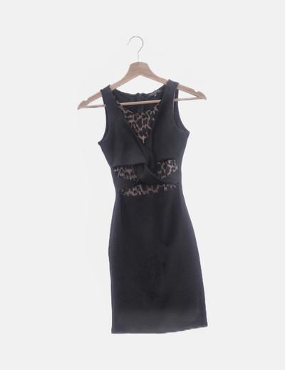 Vestido negro ceñido detalle animal print